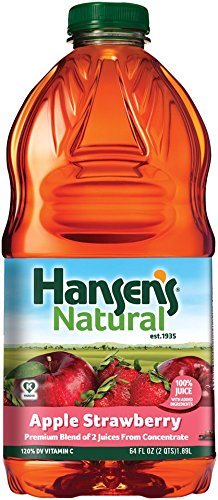 Hansen's Natural 100% Fruit Juice (Apple Strawberry, 64 Ounce, Pack of (Strawberry Fruit Juice)