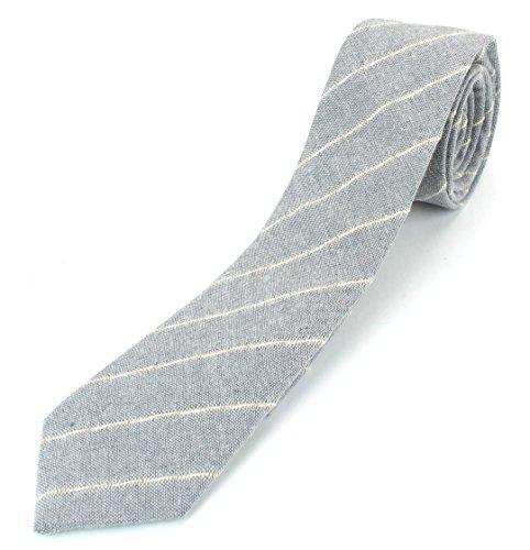 (Men's Linen Cotton Skinny Necktie Tie Light Beige/White/Brown Pinstripe Pattern - Grey)