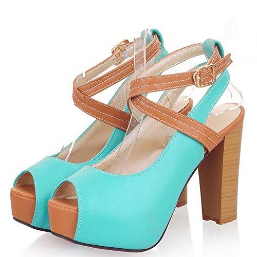TAOFFEN Mujer Moda Correa de Tobillo Peep Toe Tacon Ancho Alto Plataforma Sandalias con Hebilla Azul