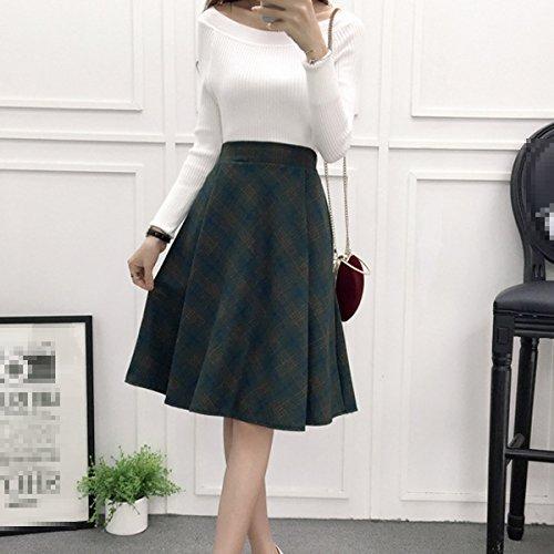 Multicolore Jupe Longue Femmes Jupe En Haute Lattice vase Laine Taille Swing Hiver Green Vintage nvnx6qFa7