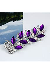 Buyinhouse Ladies Girls Flashing Rhinestones Crystals Cute Peacock Style Brooches Pin Clips Suitable for Variety Clothes and Any Occasions