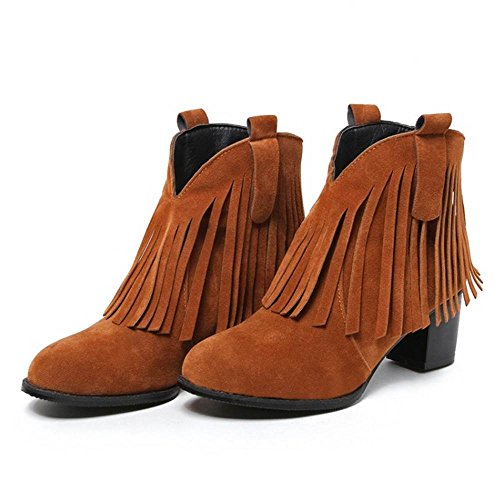 Boots 5cm Women Brown Block Zipper Heel Fringe Mid TAOFFEN qXxaWwUFa