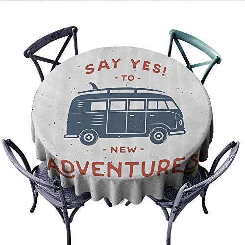 - Vintage Decor Dinner Picnic Table Cloth New Adventures Typography with Little Van Hippie Style Life Free Spirit Design Round Wrinkle Resistant Tablecloth (Round, 54 Inch, Cadet Blue White)