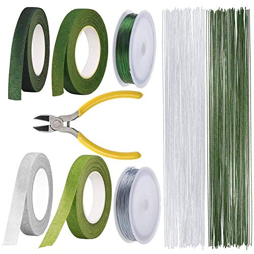 Floral Arrangement Kit Tools, LAMPTOP Floral Supplies Included 4Rolls Floral Tapes, 200pcs Floral 26 Guage Stem Wire, 2rolls 132ft/40m Floral Wire and Cutter for Men and Women Floral Design Lovers