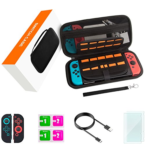 Switch Case,Switch Accessories for Nintendo Switch Includes Carry Case,Glass Screen Protectors,Joycon Skins,Charging Cable,Wipes,29 Games & 2 Micro SD Holders,All In One Starter Kit,Hard Shell,Black