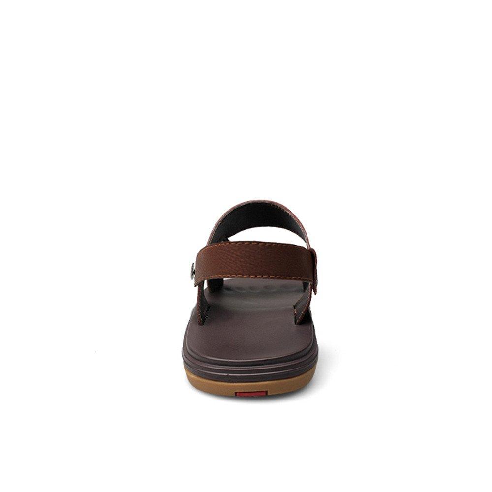 Xujw--schuhe Heren Strand Sandalen, Männer echtes Leder Strand Heren Hausschuhe Casual rutschfeste Sohle Sandalen Schuhe verstellbare Backless (Farbe : Braun, Größe : 39 EU) Braun 026f31