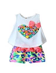 SugarM Baby Girls and Girls Kids Love Print Sleeveless T-shirt Flower Shorts (120cm, white)