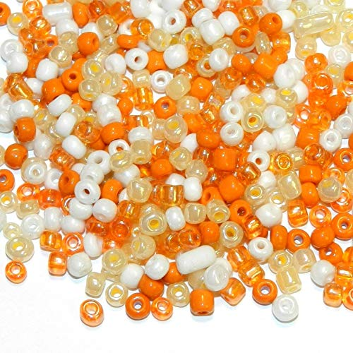Peaches Cream 6/0 4mm White Orange Glass Seed Bead Premium Mix 1oz #ID-693