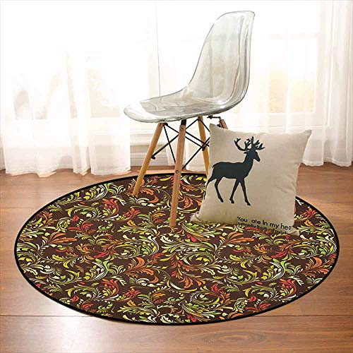(Earth Tones Multifunction Antique Scroll Pattern with Royal Theme and Classical Details Curly Leaf Motifs Non-Sliding Indoor Carpet D35.4 Inch Multicolor)