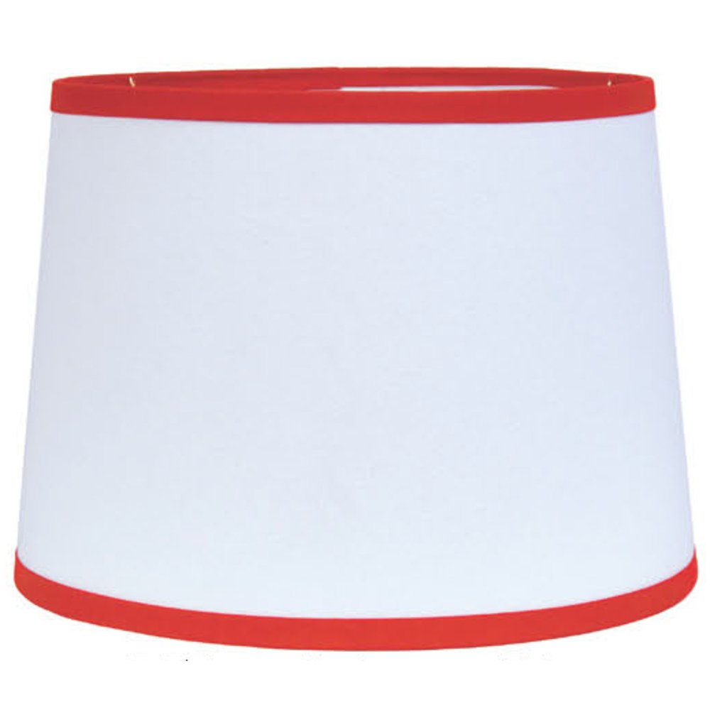 Home Collection by Raghu 0D157027 Orange & White Trim Regular Clip Drum Lampshade, 10''