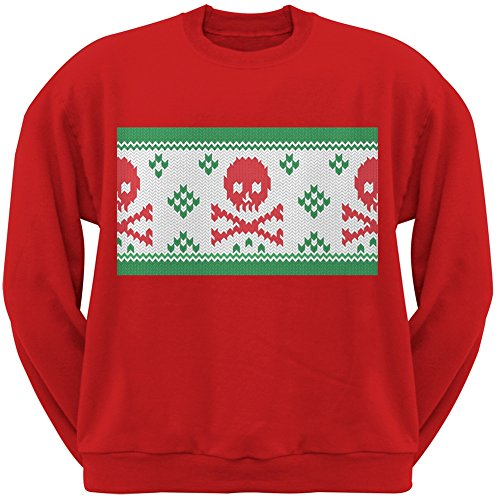 Knit Skull And Crossbones Ugly Christmas Sweater Red Adult Crew Neck Sweatshirt - (Skull And Crossbones Knit)