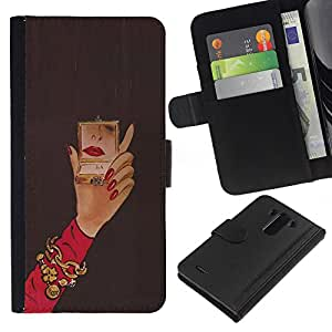 iBinBang / Flip Funda de Cuero Case Cover - Michael Espejo Mujer Red Nails Mano - LG Optimus G3