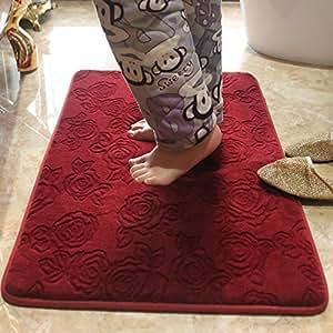 Ustide Red Rose Door Solid Color Area Rug Flower Design Decorative Carpet For Living