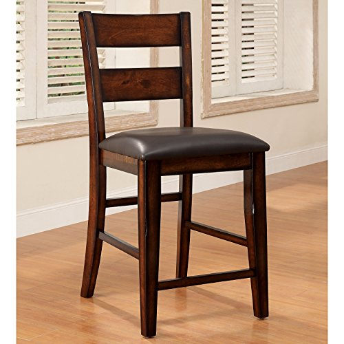 Affordable Furniture of America Katrine Dark Cherry Counter Height Dining Chair (Set of 2) in Brown