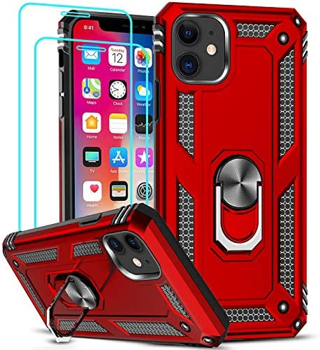 LeYi Compatible for iPhone 11 Case with [2 Pack] Tempered Glass Screen Protector, Military-Grade Armor Phone Cover Case with Ring Magnetic Car Mount Kickstand for iPhone 11 6.1 inch, Red