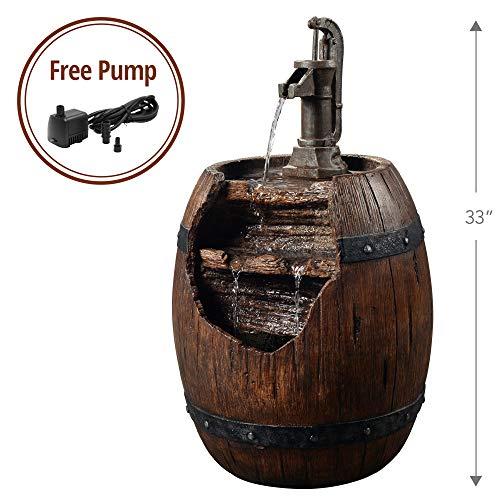 (Peaktop 201610PT Vintage Pump & Barrel Outdoor Garden Water Fountain, 33