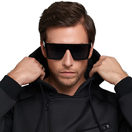 DONNA Cool Unisex Oversized Flat Top Sunglasses Square Aviator Shades D89(Glossy - Glasses Black Cool