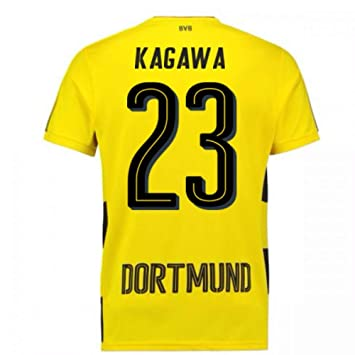 Image Unavailable. Image not available for. Color  2017-18 Borussia Dortmund  Home Short Sleeve Football ... a01a9d8a7