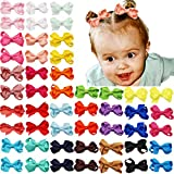 50PCS 2Inch Baby Hair Clips for Fine Hair Grosgrain Ribbon Mini Hair Bows with Alligator Hair Clips Fully Lined for Infants Newborns Toddlers Pairs