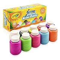 Crayola; Pintura para niños lavable; Herramientas de arte; Colores neon; 10 ct. de 2 oz. Botellas; 10 diferentes colores brillantes, audaces