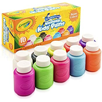 Crayola; Washable Kids' Paint; Art Tools; Neon Colors; 10 ct. of 2 oz. Bottles; 10 Different Bright, Bold Colors