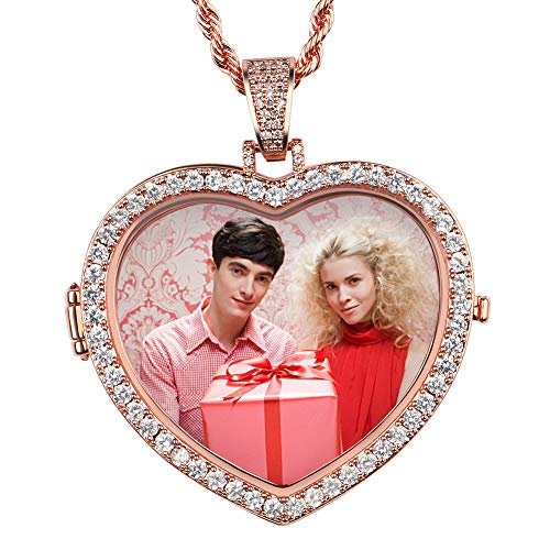 (YIMERAIRE Rose Gold Personalized Made Photo Heart Medallions Necklace & Pendant with 4mmTennis Chain Cubic Zircon Festival Gift)