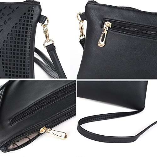 Jiaruo Vintage Girls Hollow Out Sling Leather Crossbody Bag Handbag Purse (black) by Jiaruo (Image #7)