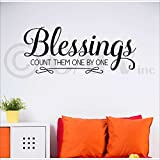 Blessings Count Them One By One vinyl lettering wall decor sayings sticker decal