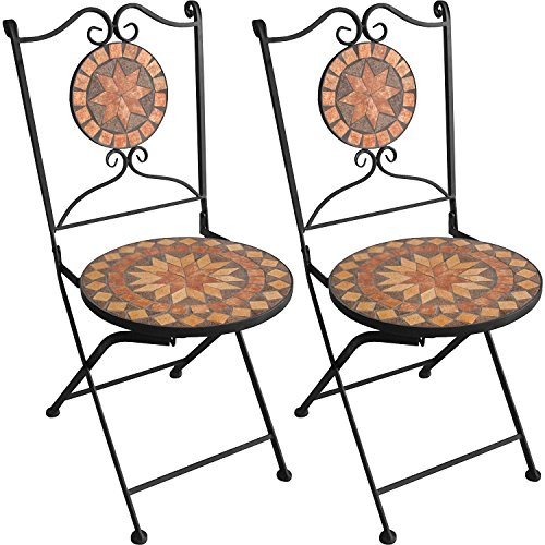 2 Stück Mosaik Klappstuhl Bistrostuhl Gartenstuhl Mosaikstuhl Eisenstuhl Gartenmöbel Balkonmöbel Terrassenmöbel