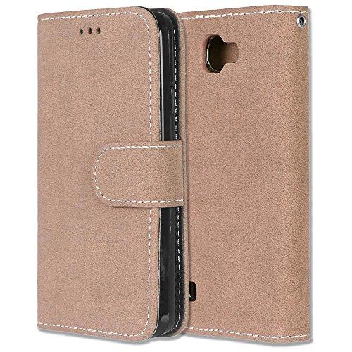 Wkae Case Cover Cubierta de cuero de la caja de la PU del color sólido de la cubierta caso retro de la caja del estuche del tirón del giro con las ranuras para tarjeta Marcos de la foto para la zona 3 5