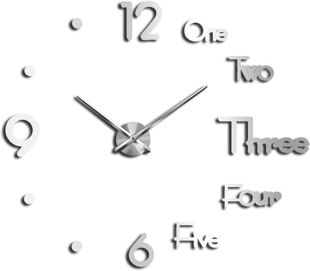 A Cup of Tea Big Silent Large Wall Clock Frameless Modern Art DIY Decorative Clocks for Walls Office Home Living Room Decor Gift (Silver)