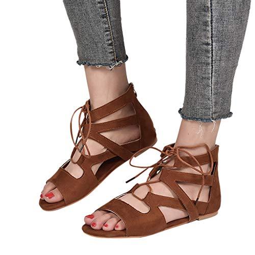 Plane Mode Sandales Respirable Femme Chaussures Xmiral Ouverte Marron Rome Zipper Plage xBXP4wq