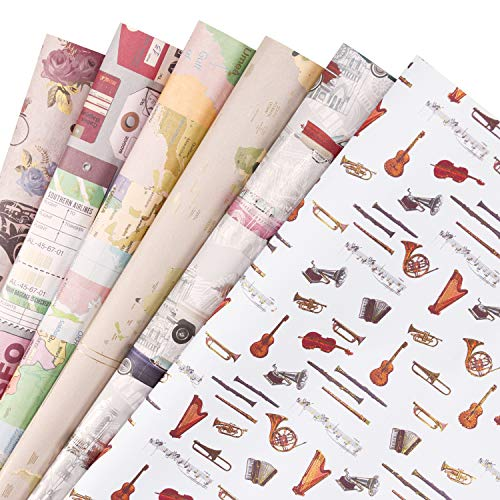 (RUSPEPA Gift Wrapping Paper Sheets - Tan Vintage Style Gift Paper for Craft,Present,Flower - 6 Folded Sheets - 19.65 X27.5 Inch)