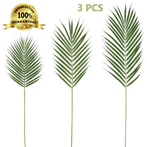 (Artiflr 3 PCS 3 Size Artificial Areca Palm Tropical Leaves Stems Faux Plastic Palm Tree Leaves Faux Monstera Leaves Palm Leaf Greenery Floral Arrangement Hawaiian Luau Jungle Beach Wedding Party)