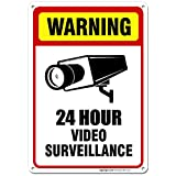 24 Hour Video Surveillance, 10x7 Rust Free,40 Aluminum, UV Printed, Easy to Mount Weather Resistant Long Lasting Ink Made in USA by SIGO SIGNS