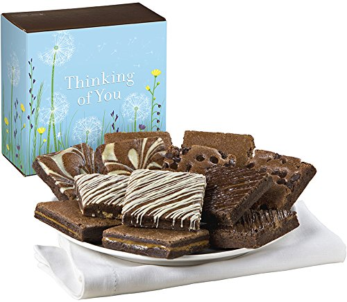 Fairytale Brownies Thinking of You Nut-Free Dozen Gourmet Food Gift Basket Chocolate Box - 3 Inch Square Full-Size Brownies - 12 Pieces (Non Food Gift Baskets)