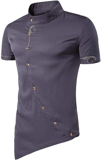 Camisa A Cuadros De Manga Corta para Hombres, Ropa Casual De Verano, Camisa Slim De Negocios Negra @ XXL: Amazon.es: Ropa y accesorios