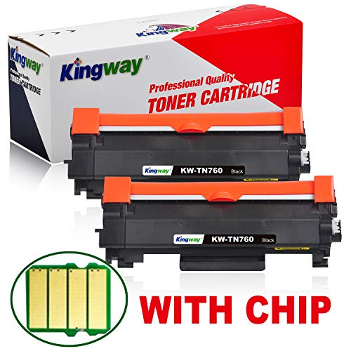 Kingway(with CHIP) Compatible Toner Cartridge Replacement for TN760 TN730 Work with HL-l2390dw HL-l2395dw DCP-l2550dw MFC-l2750dw MFC-l2710dw HL-l2350dw HL-l2370dw 2 Pack