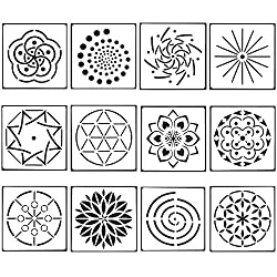 12 Pack Mandala Dotting Stencils Template, Mandala Dot Painting Stencils for Painting on Wood,Airbrush and Walls Art