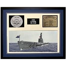 Navy Emporium USS Charr SS 328 Framed Navy Ship Display Blue