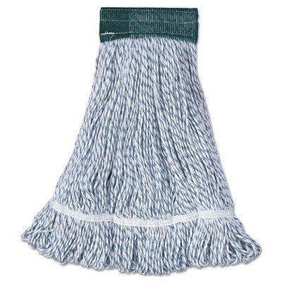Boardwalk 552 Mop Head, Floor Finish, Wide, Rayon/Polyester, Medium, White/Blue (Case of 12) by Boardwalk