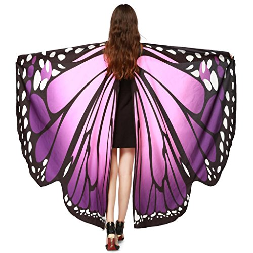 ASfairy Butterfly Wings Shawl Scarves, Women Cape Scarf Fairy Poncho Wrap Pixie Poncho Halloween Costume Accessory (Purple) -