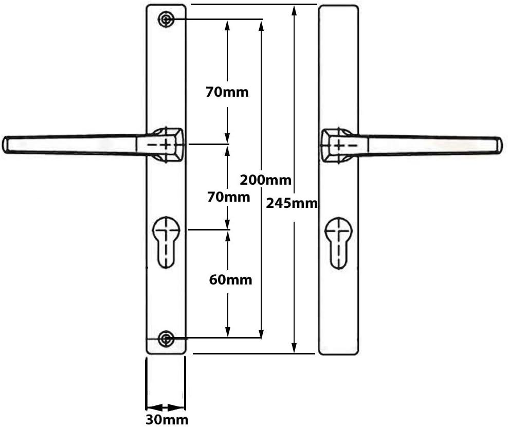 Juego de 2 manijas de puerta de UPVC de la marca Hoppe blanco 70 mm 70PZ 200 mm con doble acristalamiento