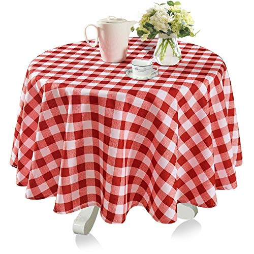YEMYHOM 100% Polyester Spillproof Tablecloths for Round Tables 60 Inch Indoor Outdoor Camping Picnic Circle Table Cloth (Red and White ()