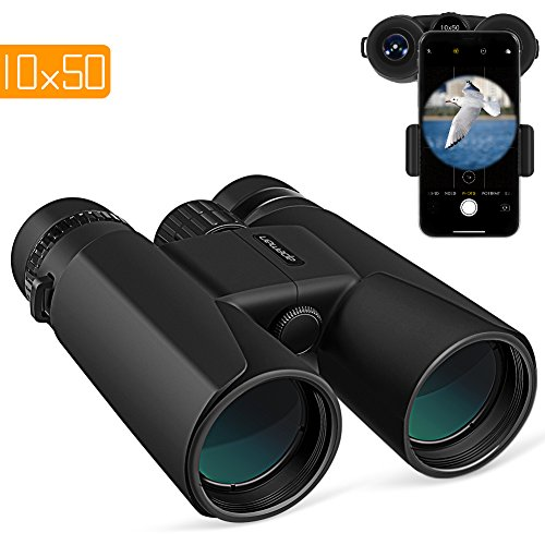 APEMAN 10X50 HD Binoculars for Adults with Low Light Night Vision,Compact Binoculars for Bird Watching, Hunting, Sports Events, Travelling, Adventure and Concerts, FMC Lens with Smart Phone Adapter by APEMAN