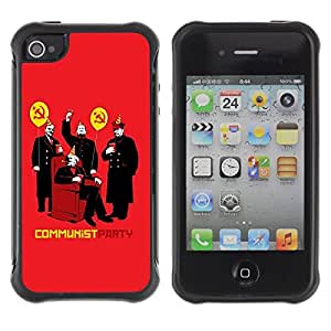 Hybrid Anti-Shock Defend Case for Apple iPhone 4 4S / Communism Party