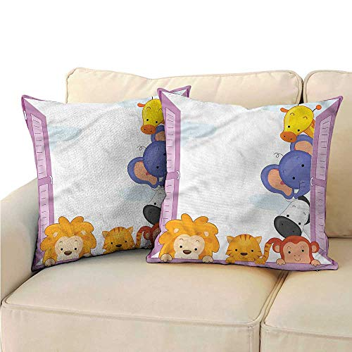 RuppertTextile Zoo Couple Pillowcase Cute Animals Peeping Window Mildew Proof W19 x L19