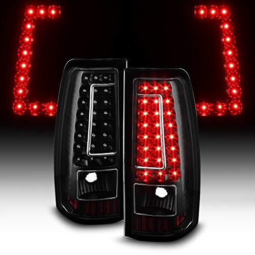 ACANII - For 2003-2006 Chevy Silverado 1500 2500HD 3500 Black LED Tail Lights Brake Lamps Set