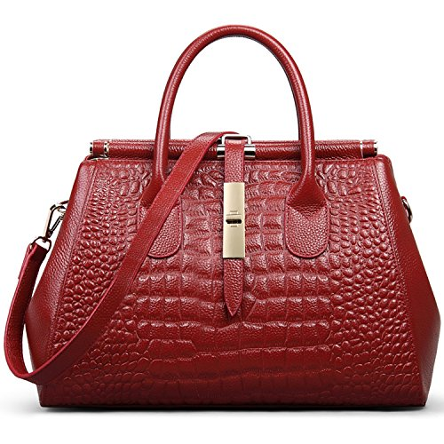 Jack&Chris Ladies Top Handle Tote Bag for Women Crocodile Embossed Purses and Handbags on Clearance, WBDZ024 (Red) Croco Embossed Leather Tote Bag