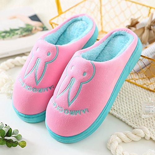 Y-Hui sacchetto di cotone pantofole con coppie Home Soft inferiore spesso il pattino inferiore In inverno piscina Casa Arredamento scarpe,42-43 (Fit per 41-42 piedi), Rosa (divieto Bao)